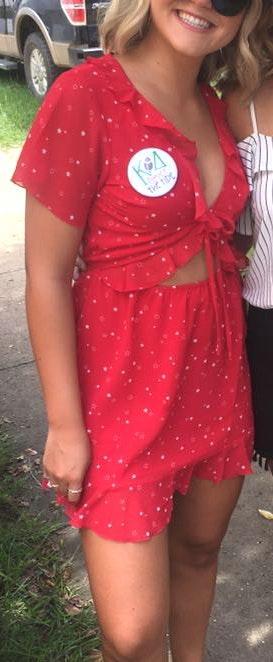 Tobi Red Ruffle Dress with Stars