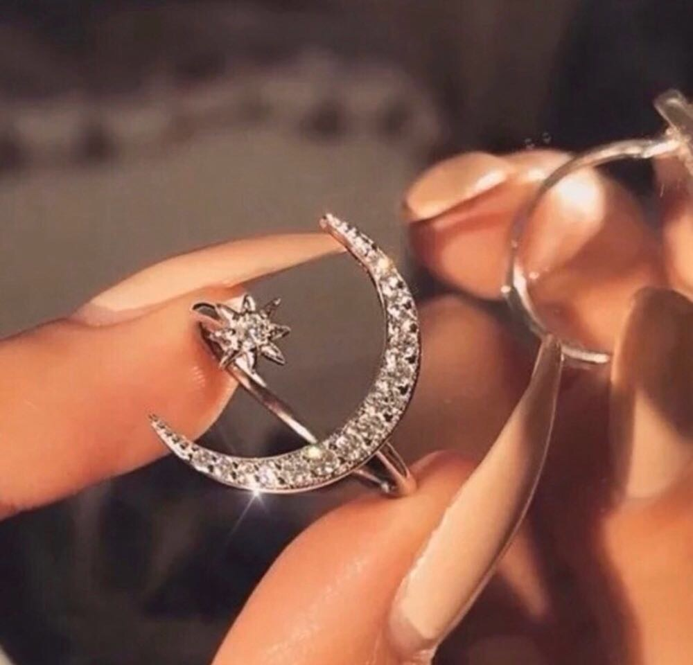 Boutique Boho Style Open Moon Star Crystal Ring