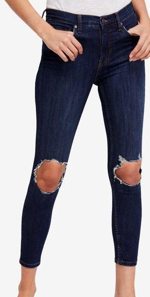 Free People Skinny High Rise Knee Busted Jeans