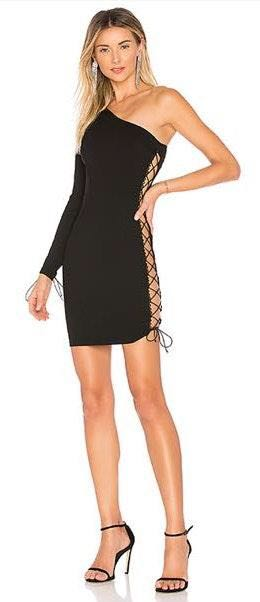 by the way. One Shoulder Lace Up Dress/ Black
