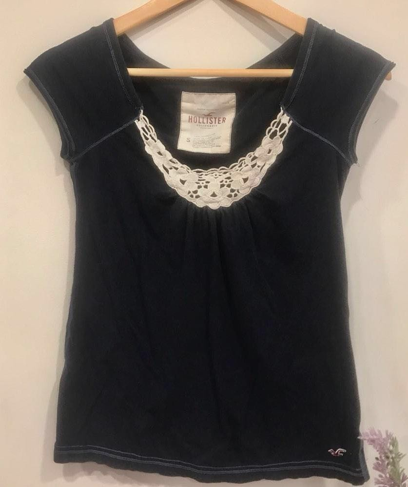 Navy Blue Scoop Neck Lace Top