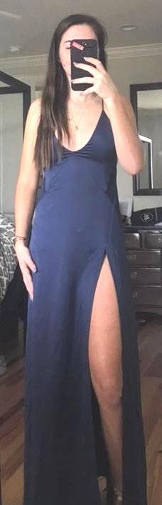 White Fox Boutique Navy Silky Slip Maxi Dress