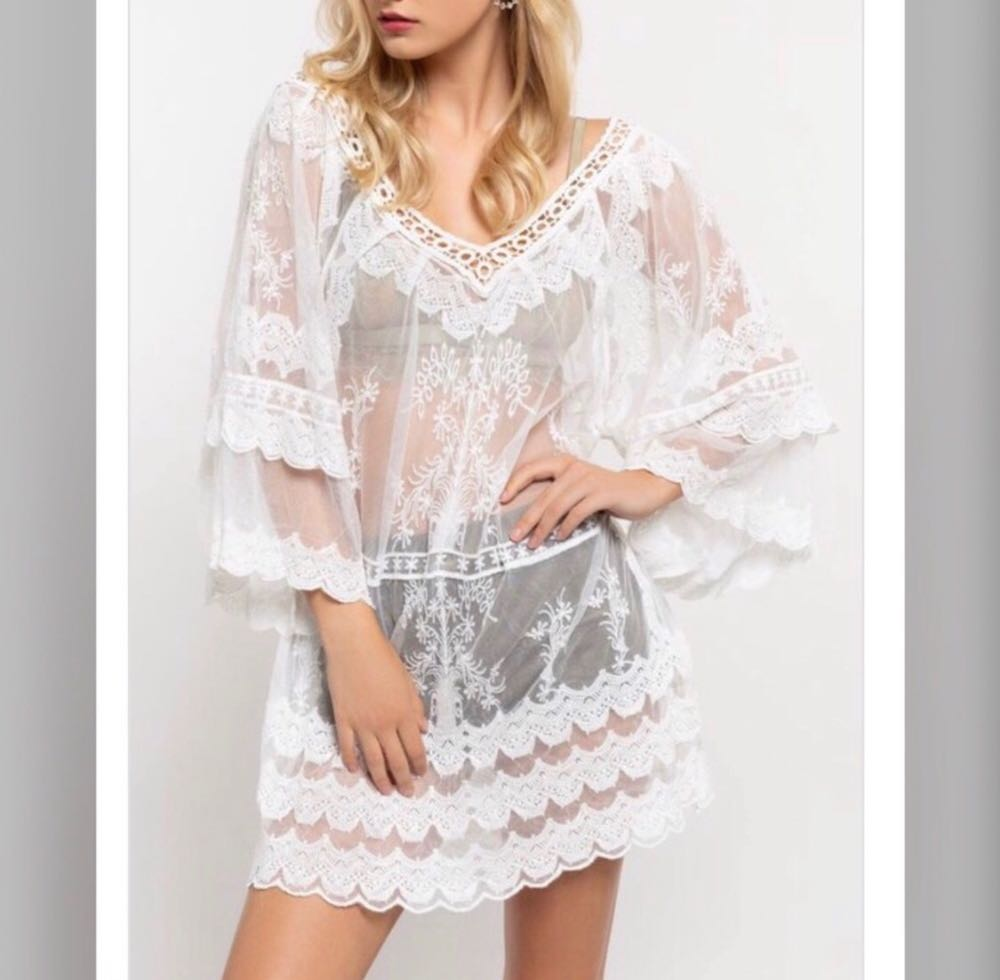 POL Feminine Mesh Lace Off the Shoulder Tunic Top Cover Up
