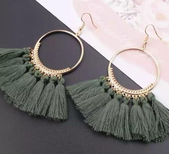 Brand new Olive Green Boho Hoops Earrings