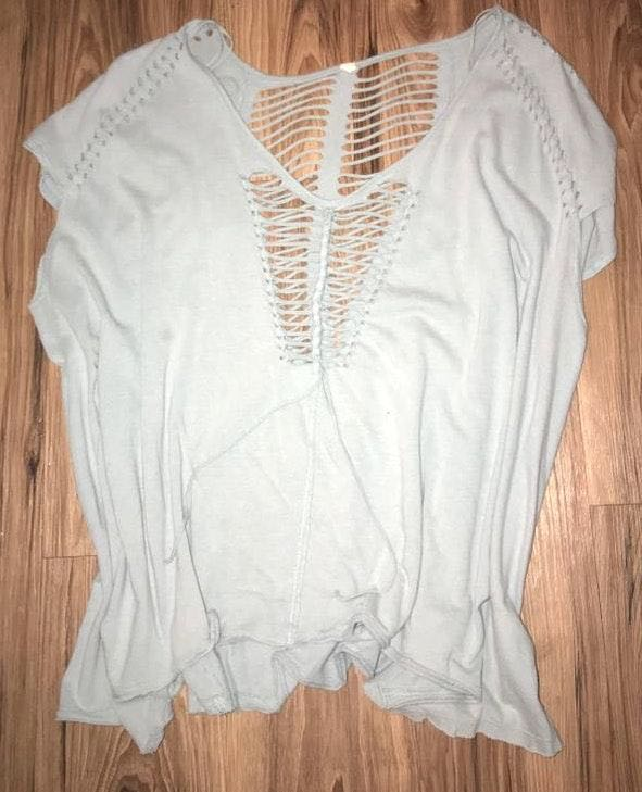 Free People Blue Cutout Top