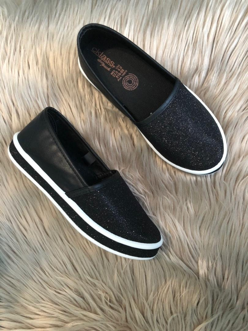 Black Slip On Loafers Shoes Tennis Size