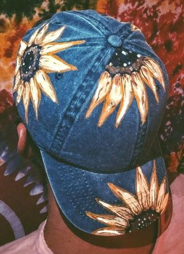 Free People Hand Painted Sunflower Hat