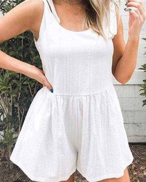 Listicle White Romper with Ties