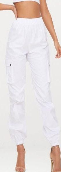 Pretty Little Thing White Pocket Detail Cargo Pants