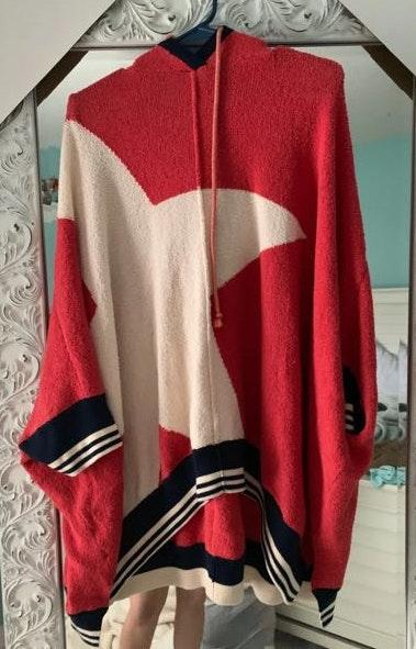 Free People oversized star sweater with hood