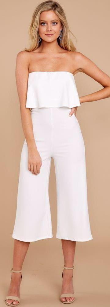 Blue Blush White Crop Ruffle Jumpsuit