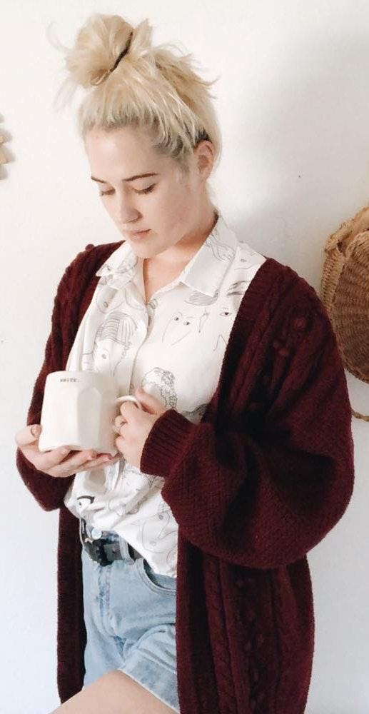 Urban Outfitters Vintage Maroon Chunky Knit Cardigan