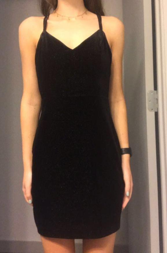 Lush Clothing Black Metallic Dress
