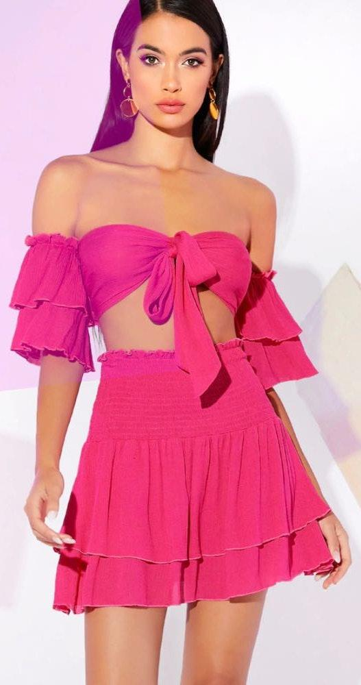 Pink Two Piece Skirt Set