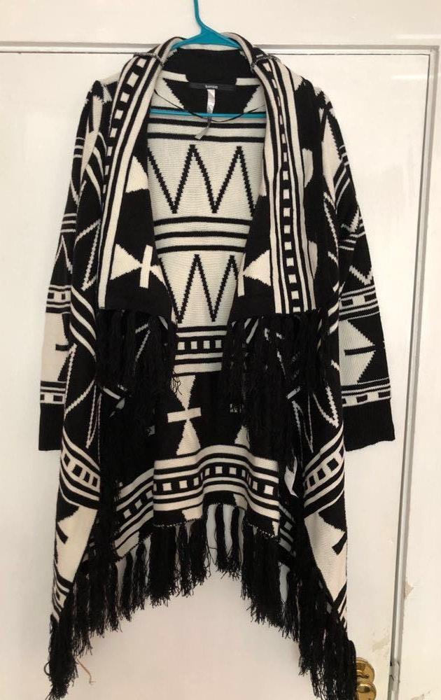 Kensie Aztec fringe drape cardigan