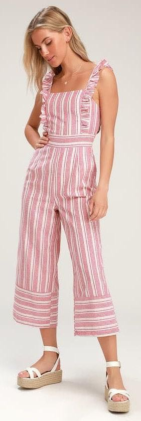 Lulus Red and White Striped Jumpsuit