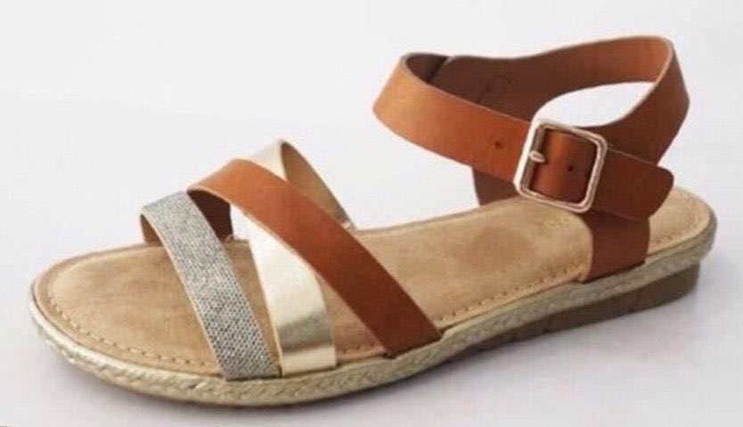 Bamboo Multi Color Metallic Brown Strappy Flat Sandals