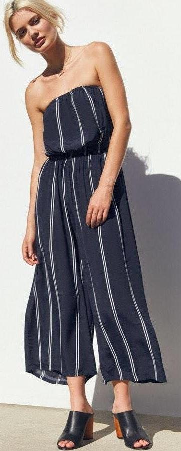 Silence + Noise Striped Strapless Jumpsuit