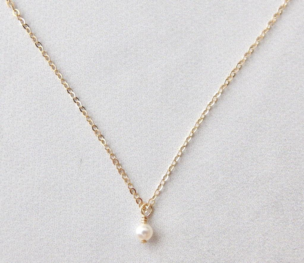 Tiniest Pearl Choker Necklace 14k Gf Curtsy