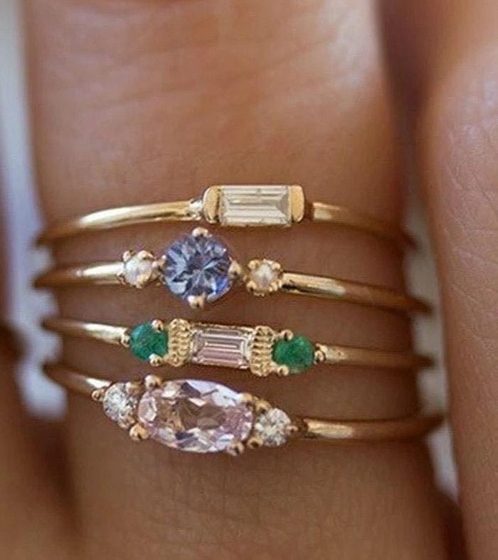 Boho Ring Set Dipped In Gold...