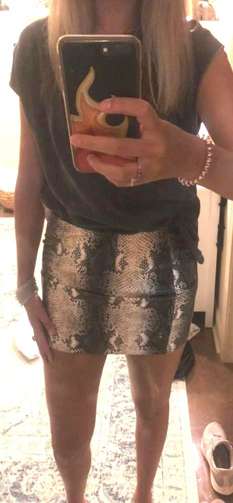 Impeccable Pig Leather Snake Skirt