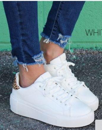 White Trendy Wedge Sneaker