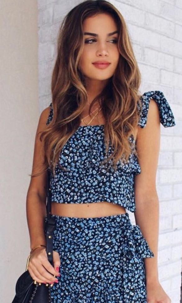 Faithfull the Brand Blue & Black Floral Gilda Skirt Set