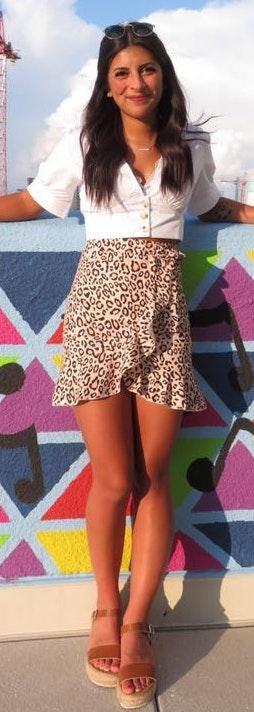 Zaful Frill Cheetah Skirt
