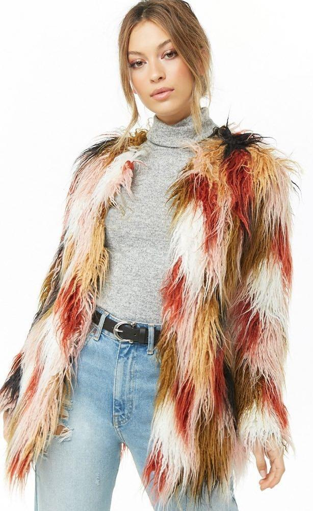 Forever 21 Faux Fur Multicolor Coat NWT