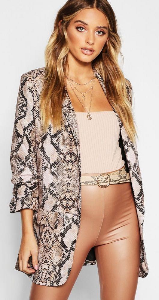 Boohoo snakeskin blazer