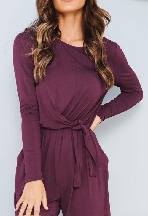 Everly Purple Long Sleeve Romper