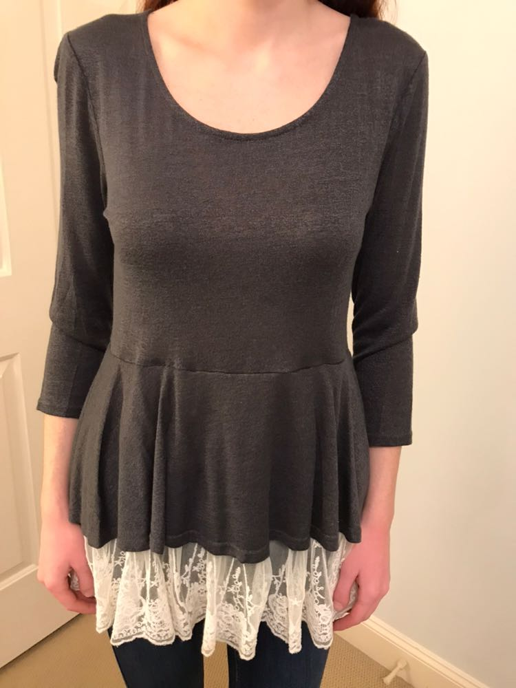 Umgee Gray Long Sleeve Shirt With Lace