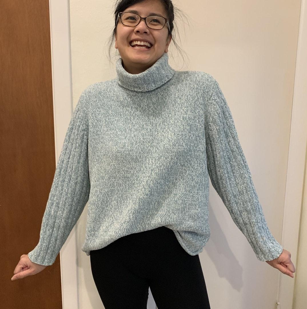 J Jill J. Jill chenille mint & white turtleneck sweater