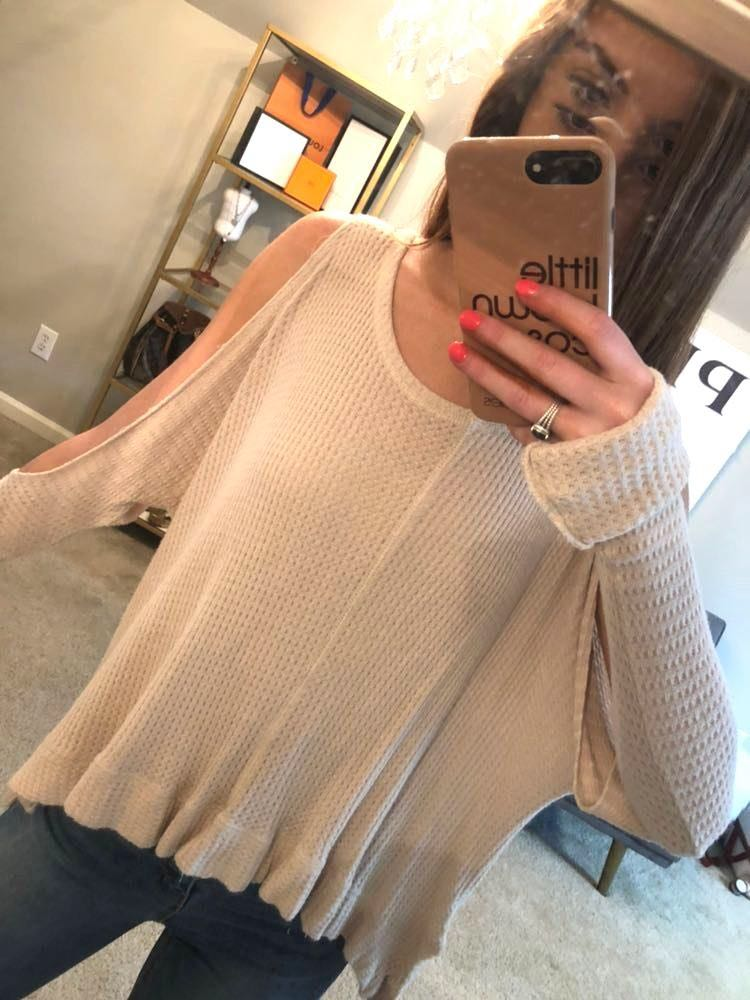 Jolie LA Cold Shoulder Light Pink Sweater