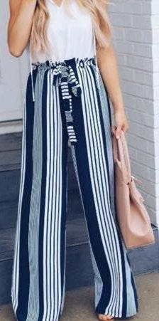Striped High Waisted Pant...
