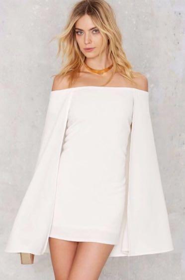 Nasty Gal White Cape Dress