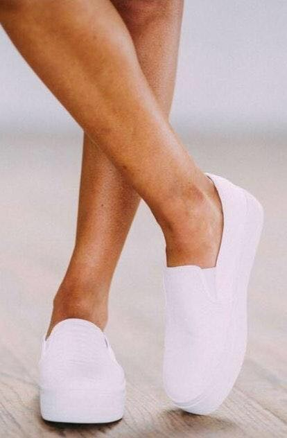 These Three Boutique White Slip On's