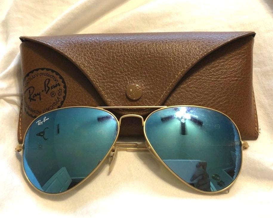 Ray-Ban Blue/Turquoise mirrored aviator sunglasses