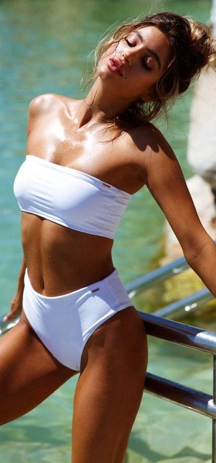 Black Swallow White Tube Top Bikini Top Only