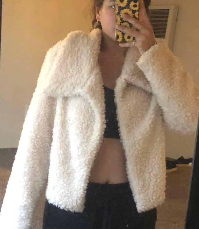 FAVLUX Light Pink Nude Sherpa Jacket