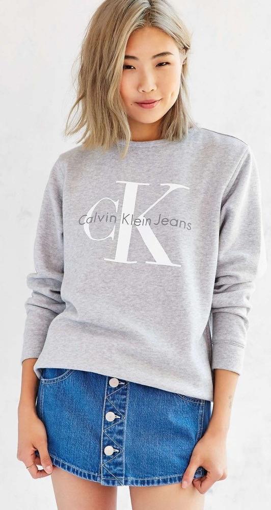 Calvin Klein grey cropped sweatshirt