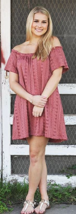 Anything Bling Boutique Rust off the shoulder dress