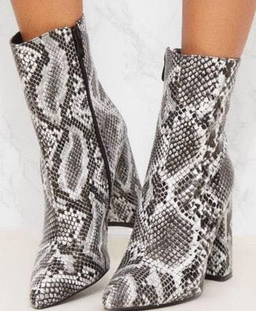 Pretty Little Thing Snake Print Booties