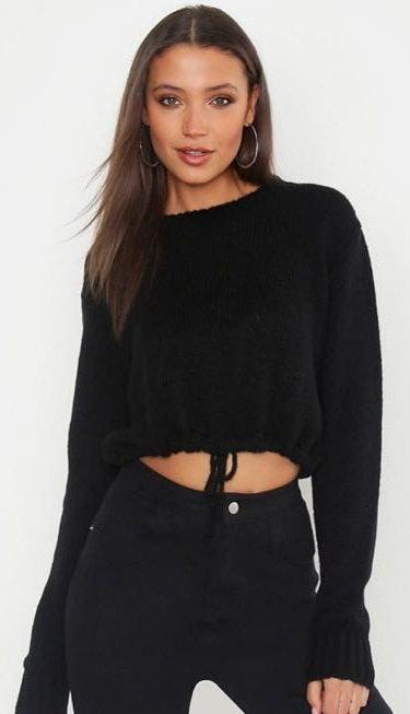Boohoo Cropped Black Sweater