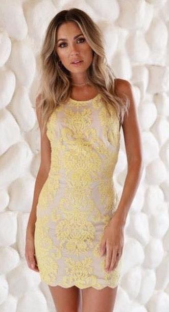 Xenia Yellow Tight Dress