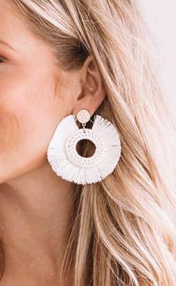 Blu Spero White Tassel Earrings