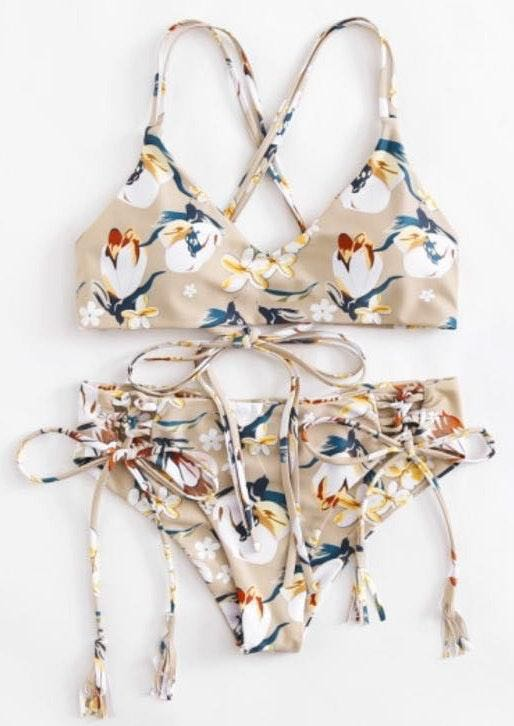 SheIn Self tie Floral bikini set