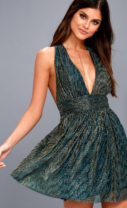 Lulus Gold And Teal Blue Skater Dress