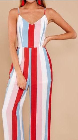 Red Dress Boutique Striped Jumpsuit With Cute Bowtie Back
