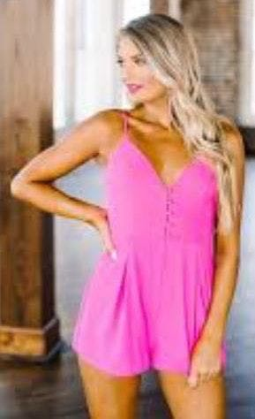 These Three Boutique Pink Button Romper